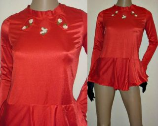 Vintage 70s 80s RED SPANDEX Panty Skirt SKATING LEOTARD Dance Bodysuit
