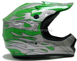 YOUTH KIDS MOTOCROSS DIRT BIKE OFF ROAD MX GREEN SILVER FLAME HELMET