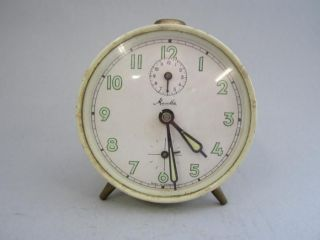 white sub seconds vintage alarm clock made in Germany *ECO friendly