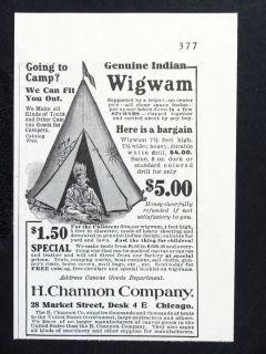 Genuine Indian Wigwam magazine Ad Childrens Camping Tent Fun w1902