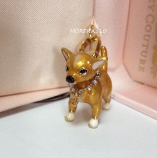 JUICY COUTURE CHIHUAHUA DOG COLLAR WITH CRYSTALS CHARM IN PINK BOX