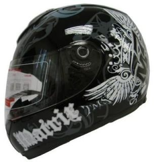 FULL FACE MOTORCYCLE SCOOTER STREET SPORT BIKE HELMET BLACK CROWN