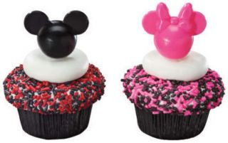 MICKEY MOUSE & MINNIE HEAD CUPCAKE PICKS #2 Cake Toppers Decorations