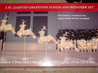 pc lighted grapevine sleigh reindeer set christmas yard decoration