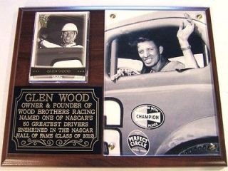 Glen Wood NASCAR Hall Fame 2012 Photo Plaque Legend Wood Brothers