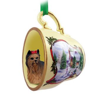 Yorkie Dog Christmas Holiday Teacup Sleigh Ornament Figurine Puppy Cut