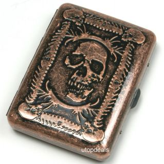 Carved embossed SKULL SKELETON Cigarette cigar case holder 85mm