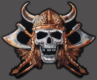 Viking Skull EMBROIDERED 12 INCH BIKER JACKET VEST BACK PATCH
