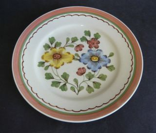 BRISTOL POUNTNEY & CO FLORAL PLATE 1339 BLUE YELLOW