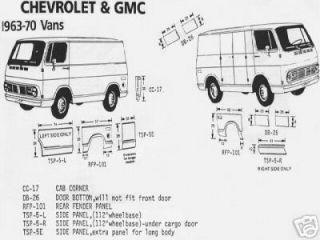 Chevy GMC Van Door Bottom, 63,64,65,66,67,68,69,70