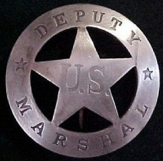 Old West Deputy US Marshal silver lawman badge #BW74