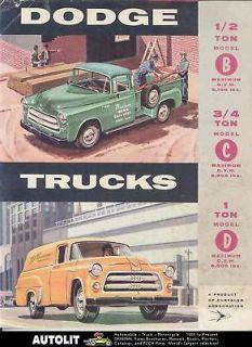 1955 Dodge Pickup Panel Town Wagon Truck Brochure