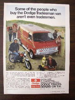 VINTAGE 1974 Dodge tradesman Custom Van ORIGINAL magazine ad Surfer