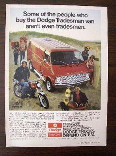 VINTAGE 1974 Dodge tradesman Custom Van ORIGINAL magazine ad Surfer