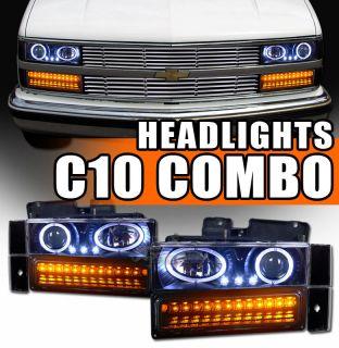 Projector Head Lights+LED Bumper+Corner 88 93 Chevy/GMC C10 Truck/SUV