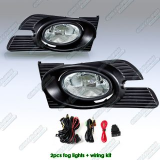 Clear Bumper Fog Lights + Switch Harness Kit (Fits 1998 Honda Accord