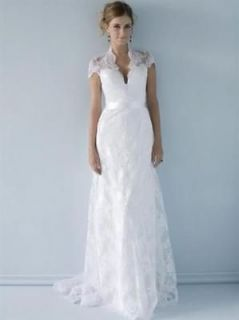 Noble white/ivory lace wedding Dress Bridal Gown short sleeve sash