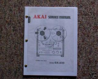 AKAI GX 625 Reel to Reel Service Manual FREE SHIP