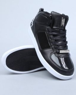 New Cadillac Footwear Black/White Net Leather Hi Top Mens Shoes All