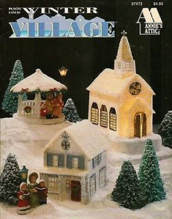 NEW WINTER VILLAGE IN PLASTIC CANVAS PATTERN LEAFLET RARE AND HTF
