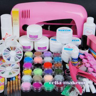 9W UV pink dryer lamp 24 color Acrylic Powder Nail Art Kit gel