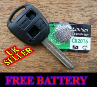 TOYOTA HIACE HIGHLANDER 2 BUTTON REMOTE KEY FOB CASE WITH FREE BATTERY