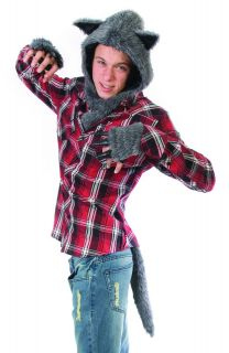 Adult Mens Werewolf Hood Scary Halloween Costume Kit