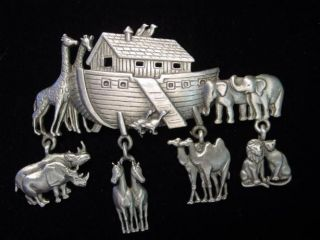 JJ Silver Pewter NOAHS ARK ~ Animal Charms Pin