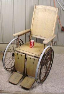Antique Vintage Wood Wooden Adjustable Wheelchair   Halloween Fully