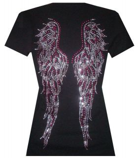 PINK RHINESTONE/STU​D ANGEL WINGS V NECK T SHIRT BLACK.PLUS SIZE1XL