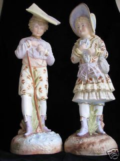 PAIR BISQUE PORCELAIN FIGURINES BOY GIRL FIGURES RUDOLSTADT GERMANY