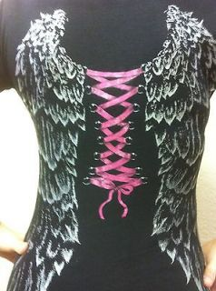 WOMENS ANGEL WINGS CORSET BIKER CREW NECK SHIRT. 8 COLORS TO CHOOSE