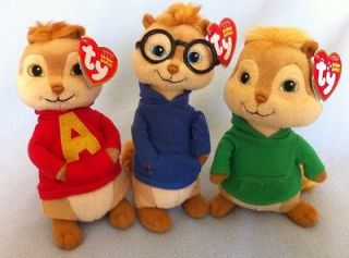 ALVIN, SIMON, & THEODORE Set of 3 TY Beanie Babies Alvin and the