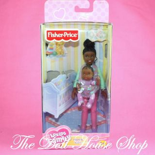 New African American AA Mom Baby Girl Doll Fisher Price Loving Family