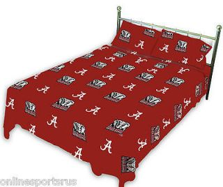 Alabama Crimson Tide Sheet Set White or Team Color Twin to King