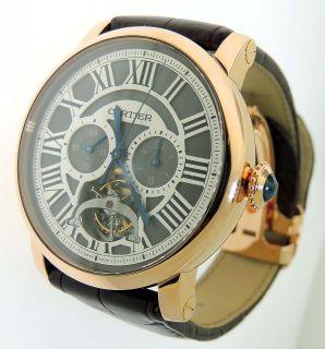 Mens Cartier Rotonde Tourbillon 3274 Chronograph 18K Gold Watch