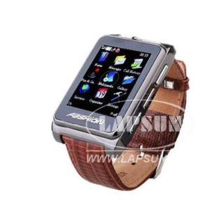 Leather Touch Screen GSM Mobile Cell Phone Watch Camera S9110 Brown UK