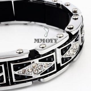 High Quality Mens Silver Black Carbon Stainless Steel Bangle CZ