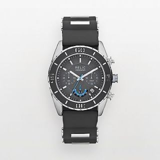 MENS RELIC FOSSIL METAL WATCH RUBBER SILICON BAND CHRONOGRAPH $95.00