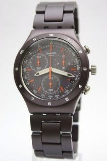 New Swatch Men Irony Chrono Brown Coat Aluminum Band Watch Date 40mm