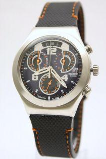 New Swatch Irony Chrono Men Black Rubber Band 4 Jewels Watch 40mm