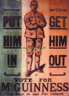 Rare Sinn Fein Irish Republican Election Poster Mc Guinness in Jail