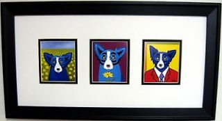 GEORGE RODRIGUE BLUE DOG NOTE CARDS   FRAMED   22 x 12