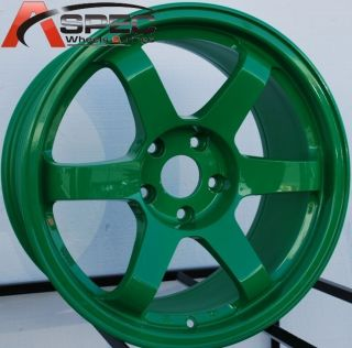 17X9.0 ROTA GRID WHEELS 5X100 RIMS 35MM AB GREEN COLOR FITS WRX TC