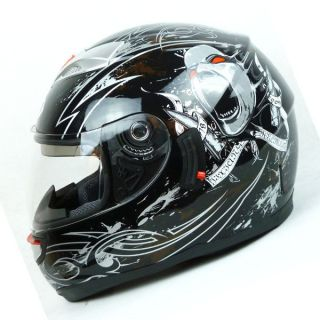 NEW Motorcycle Dual Visor/Lens Full Face Helmet Soar Monster Black S M