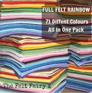 Wool Mix Felt Rainbow 71 Colours 4 inch / 10cm Squares