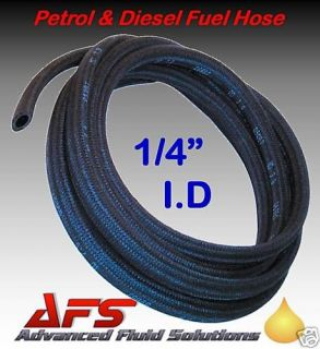 6mm 1/4 BRAIDED PETROL FUEL LINE HOSE PIPE 1m unleaded