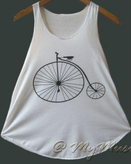 Cycle Vintage Classic Bicycle Print Vest Tank Tshirt Stunning