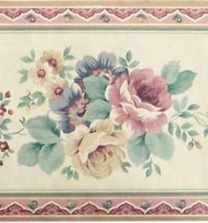 Country Floral Wallpaper Border Flowers Bath Room Vine Leaves Pink