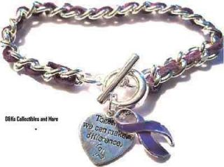 Life Cancer Awareness purple ribbon heart charm silvertone bracelet D